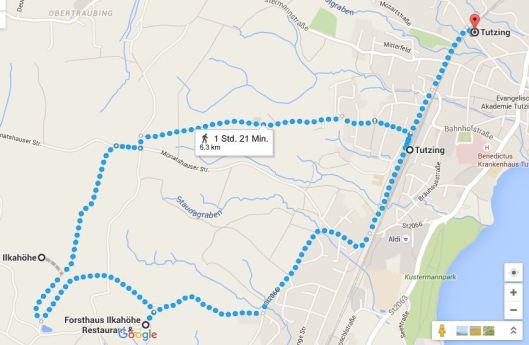 Google Maps Route Ilkahöhe